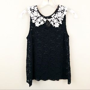 Anthropologie Eloise Small Lace Floral Collar Tank